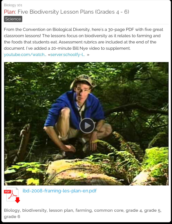Five Biodiversity Lesson Plans Grades 4