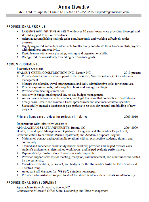 chronological sample resume executive administrative