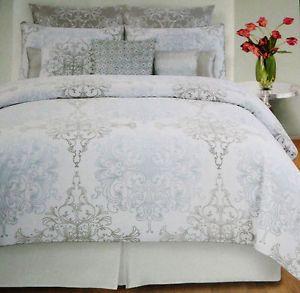 tahari blue grey white milan scroll 6pc queen comforter set blue and white blue and and grey. Black Bedroom Furniture Sets. Home Design Ideas