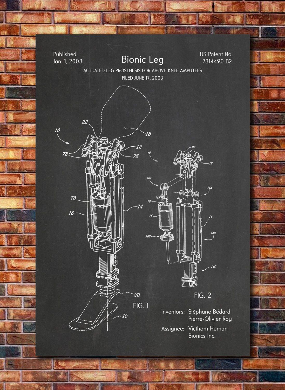 Prótesis pierna patente imprimir arte 2008 por CatkumaPatentPress