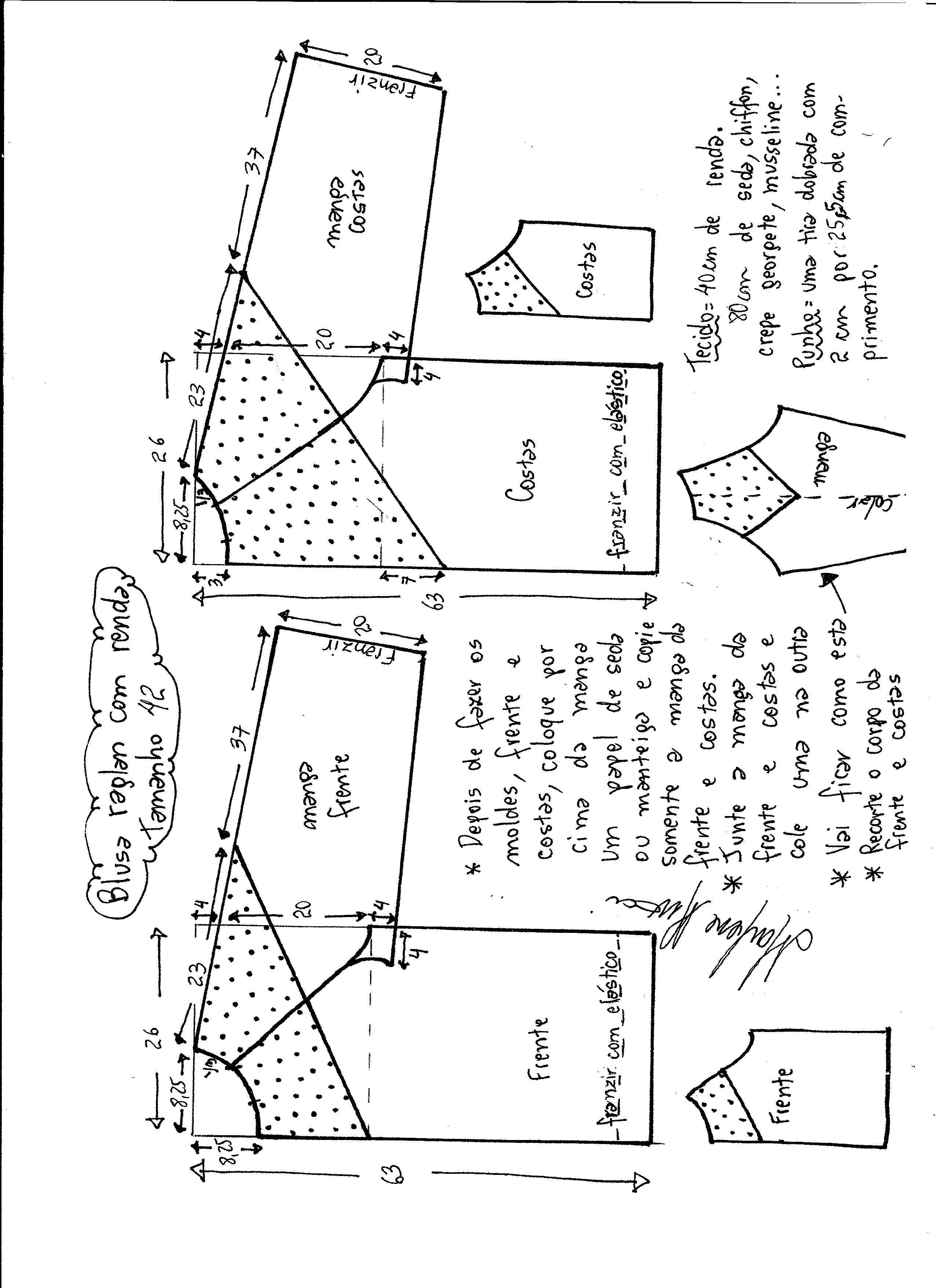 Patrón de blusa con manga ranglán | Pattern and sewing | Sewing ...