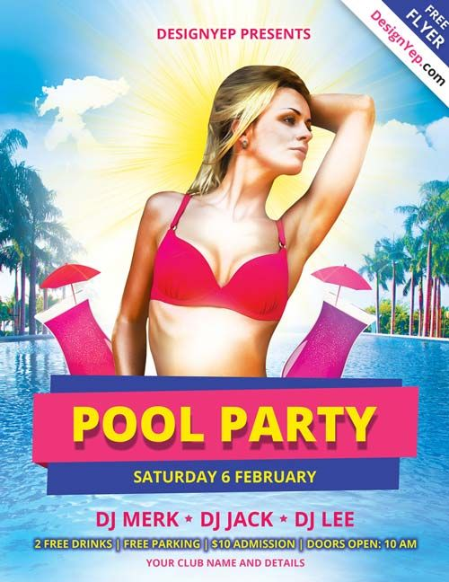 Pool Party Free PSD Flyer Template - http://freepsdflyer.com/pool ...