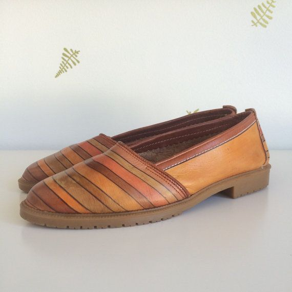 vintage leather flat shoes / slip ons / lug soles / by foxandrook