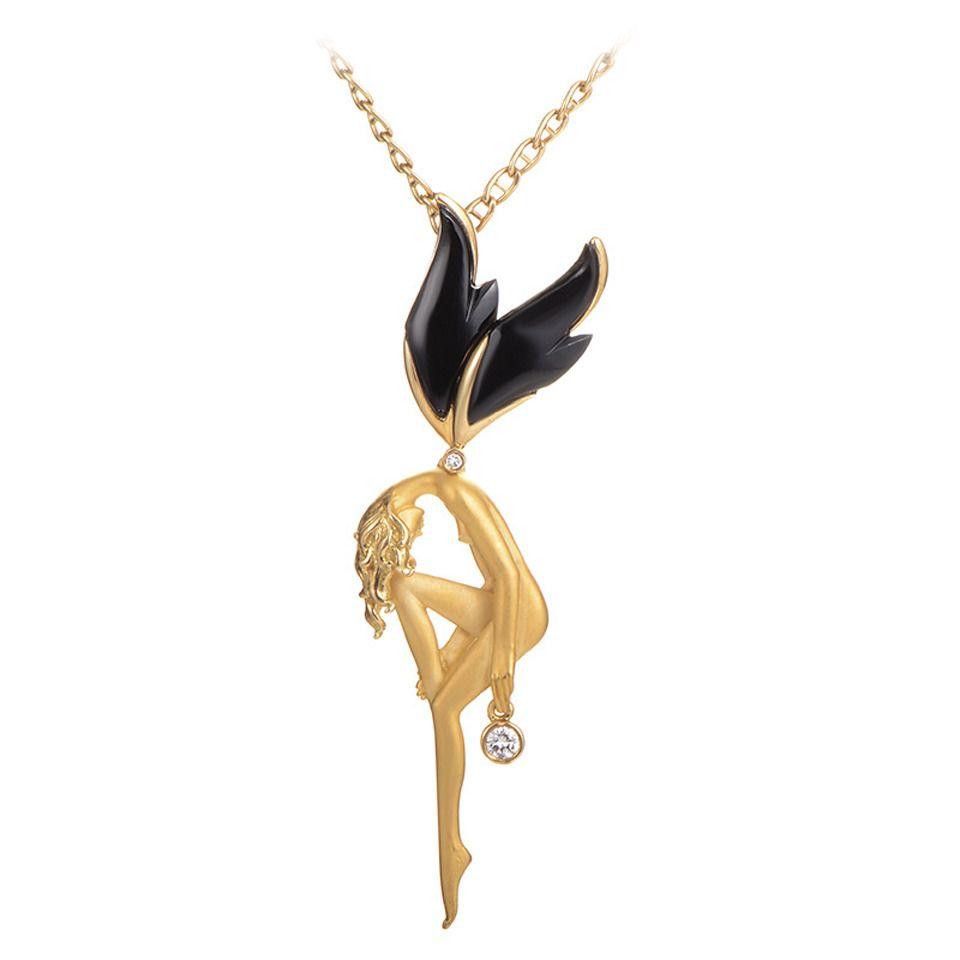 Carrera y carrera large onyx diamond gold fairy pendant necklace carrera y carrera large onyx diamond gold fairy pendant necklace aloadofball Gallery