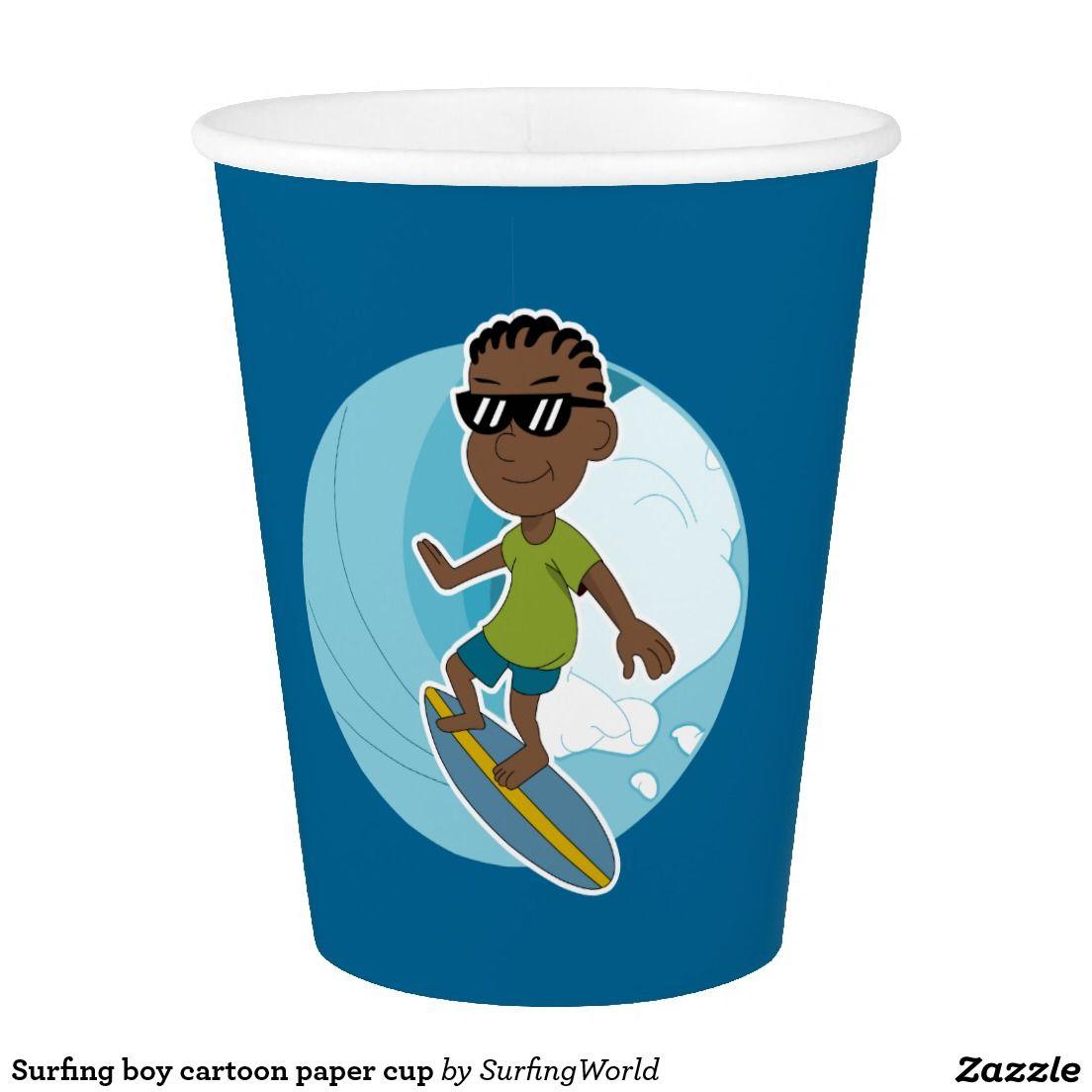 Surfing boy cartoon paper cup