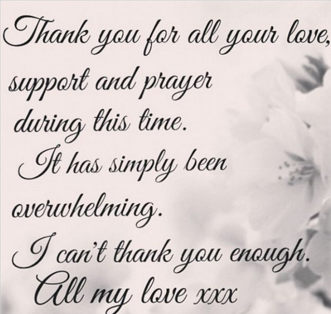 Thank You For Your Thoughts And Prayers Words Tessa James Shares A