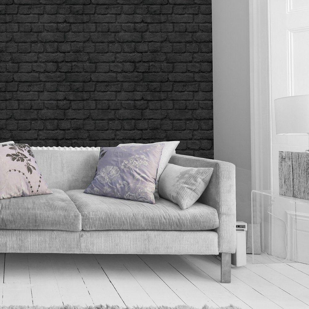 Best Warehouse Photographic Brick Effect Wallpaper Black 400 x 300