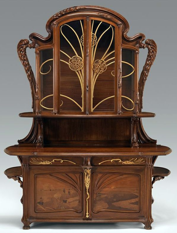 art nouveau buffet vaisselier emile gall paul holderbach ferrures et august herbst. Black Bedroom Furniture Sets. Home Design Ideas