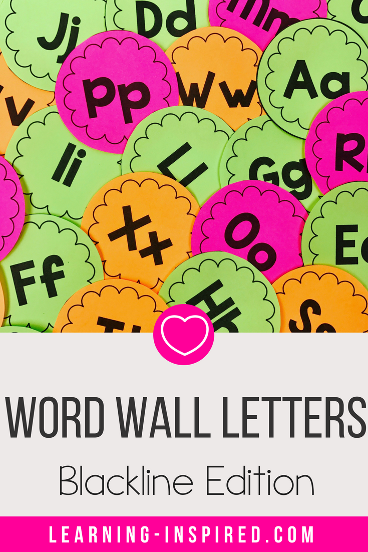 These beautiful blackline word wall letters will brighten