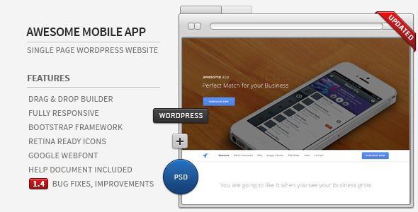 Awesome App - Responsive Parallax WordPress Showcase | Wordpress ...
