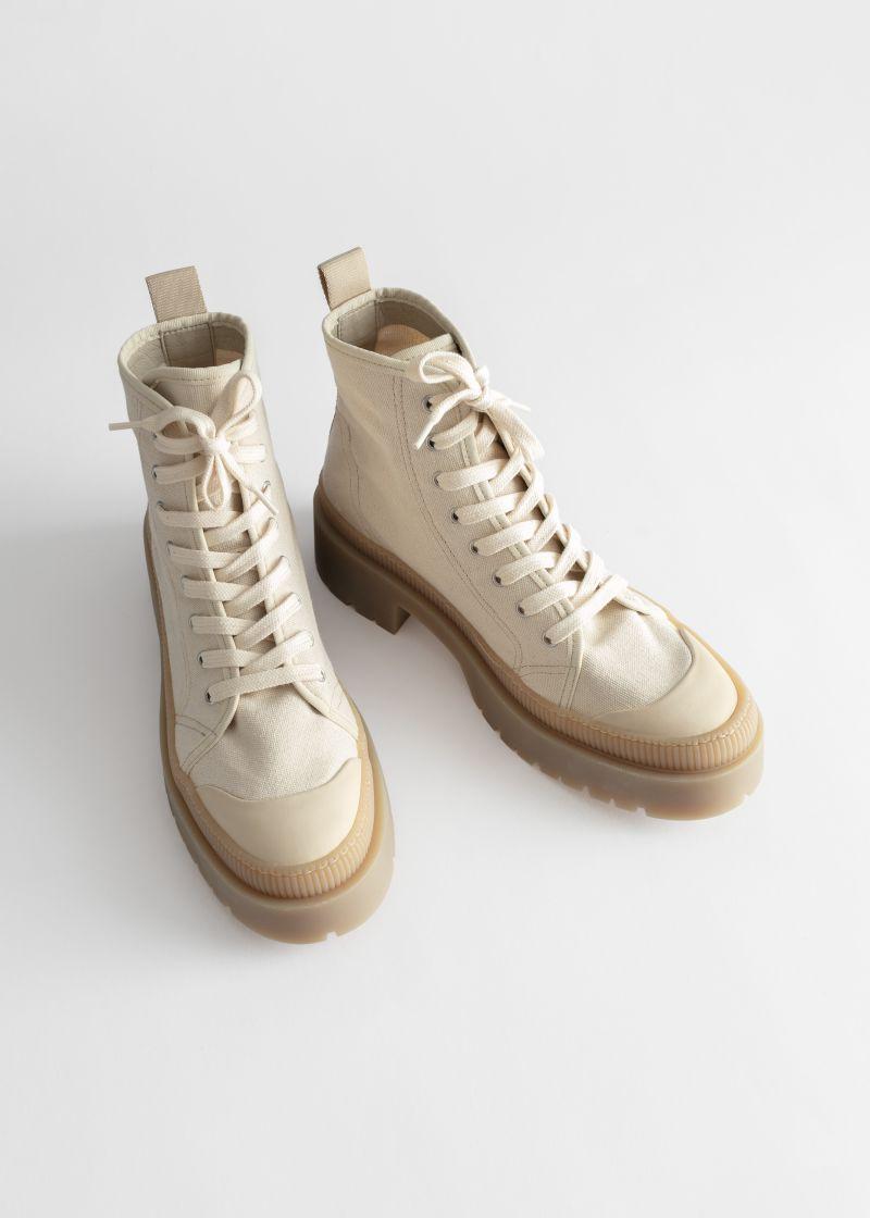 Canvas Platform Heeled Boots | \u0026 Other