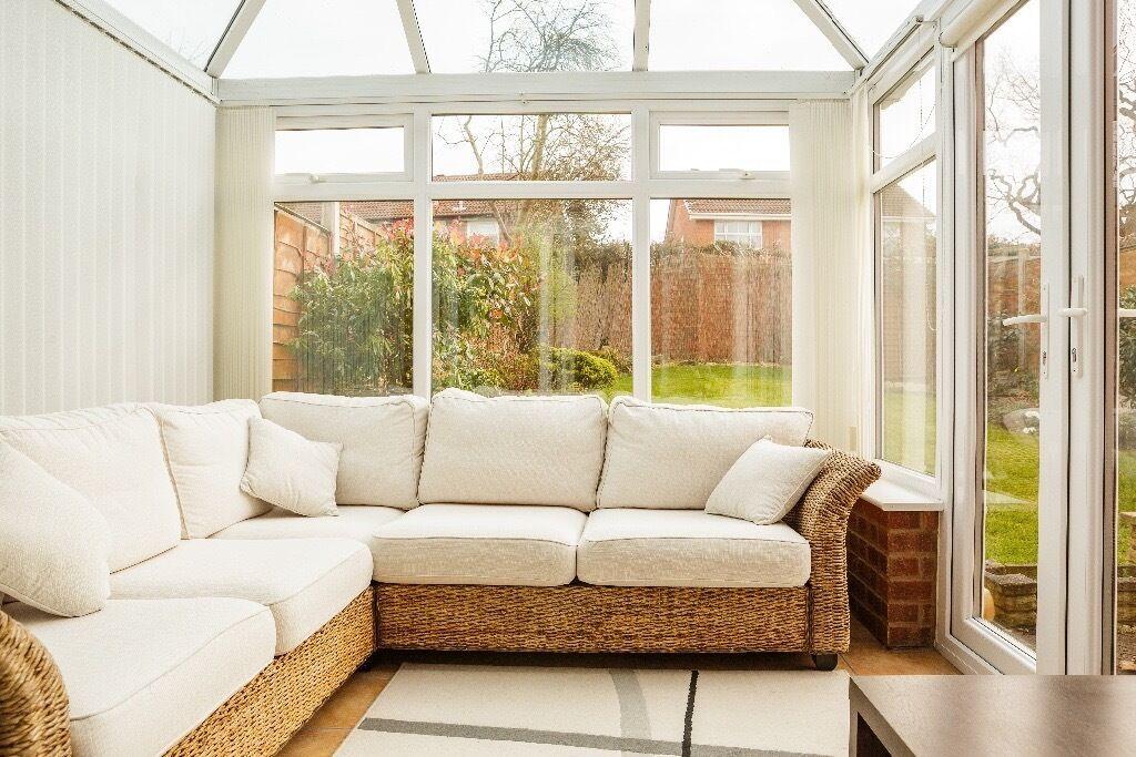 Rattan Conservatory Corner Sofa Furniture 3 Ter Cushions In 2020 Corner Sofa