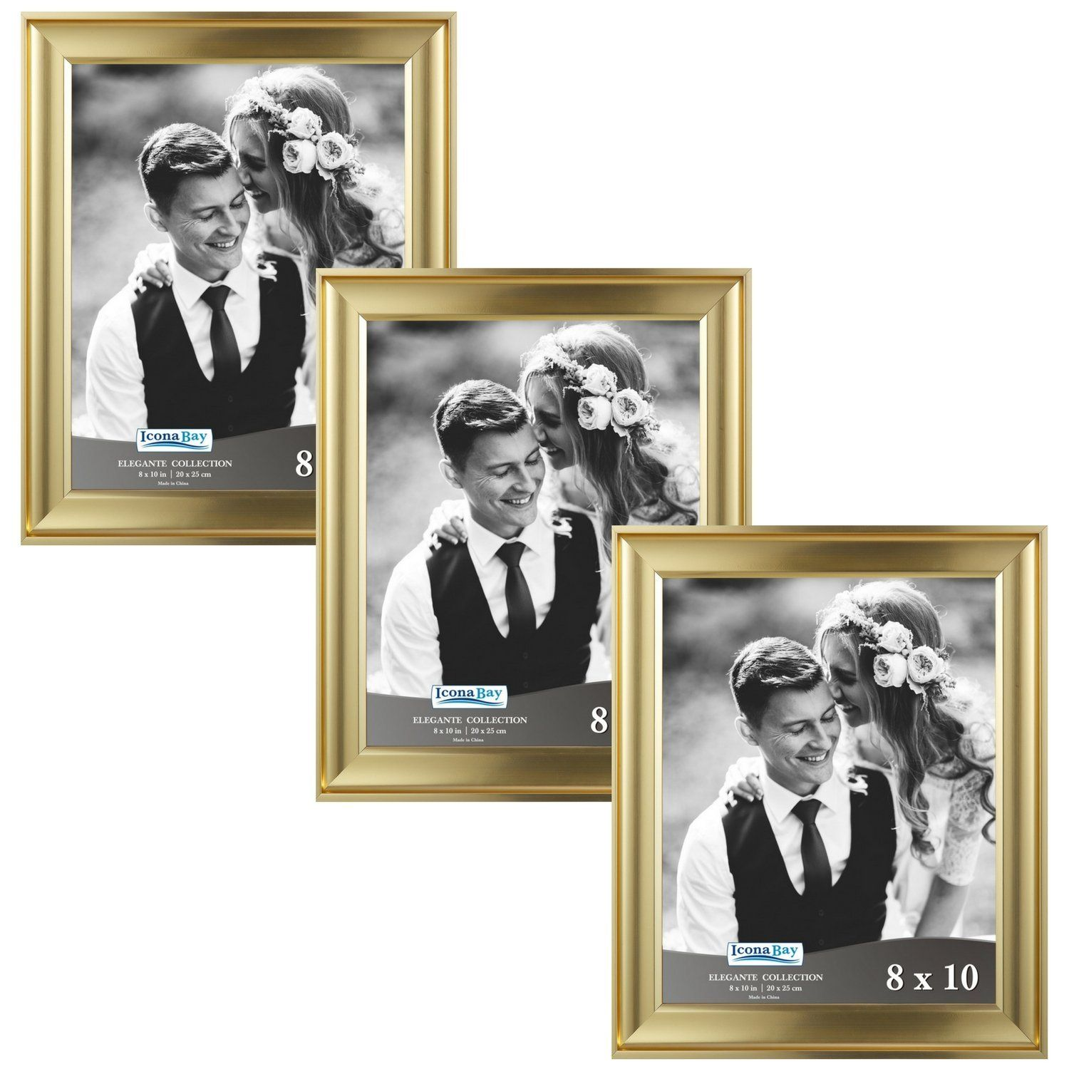 Amazon Com Icona Bay 8 By 10 Picture Frames 8x10 3 Pack Gold Photo Frames Wall Mount Hangers And Black Gold Photo Frames 8x10 Picture Frames Photo Frame