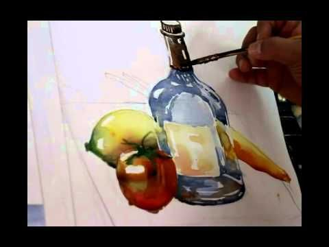 Watercolor Painting Grapes Wine Bottle Juice Glass Still Life 5x7