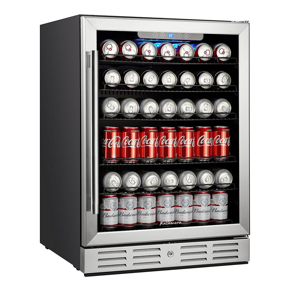 Kalamera 24 In Built In Single Zone Beverage Refrigerator With 170 Can 12 Oz Beverage Black In 2020 Beverage Refrigerator Outdoor Kitchen Appliances Beverage Center