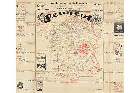 Affiche De La Carte Du Tour De France 1933 Publicite Peugeot Le