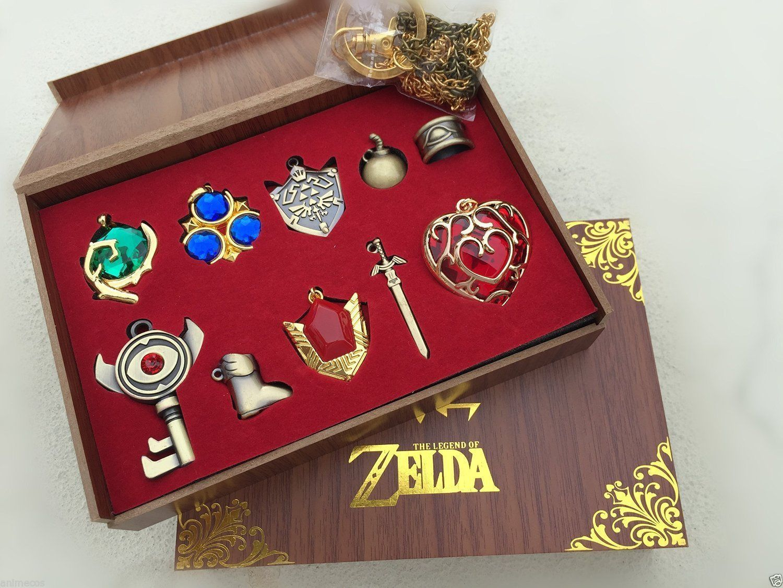 Wood Box 6pcs The Legend of Zelda Link Sword Shield Keychain Red Pendant Set