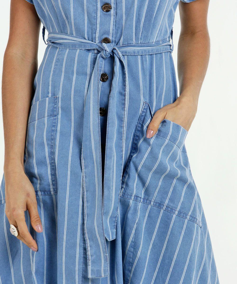 97d8352aaa Vestido Feminino Jeans Midi Listrado Manga Curta in 2019