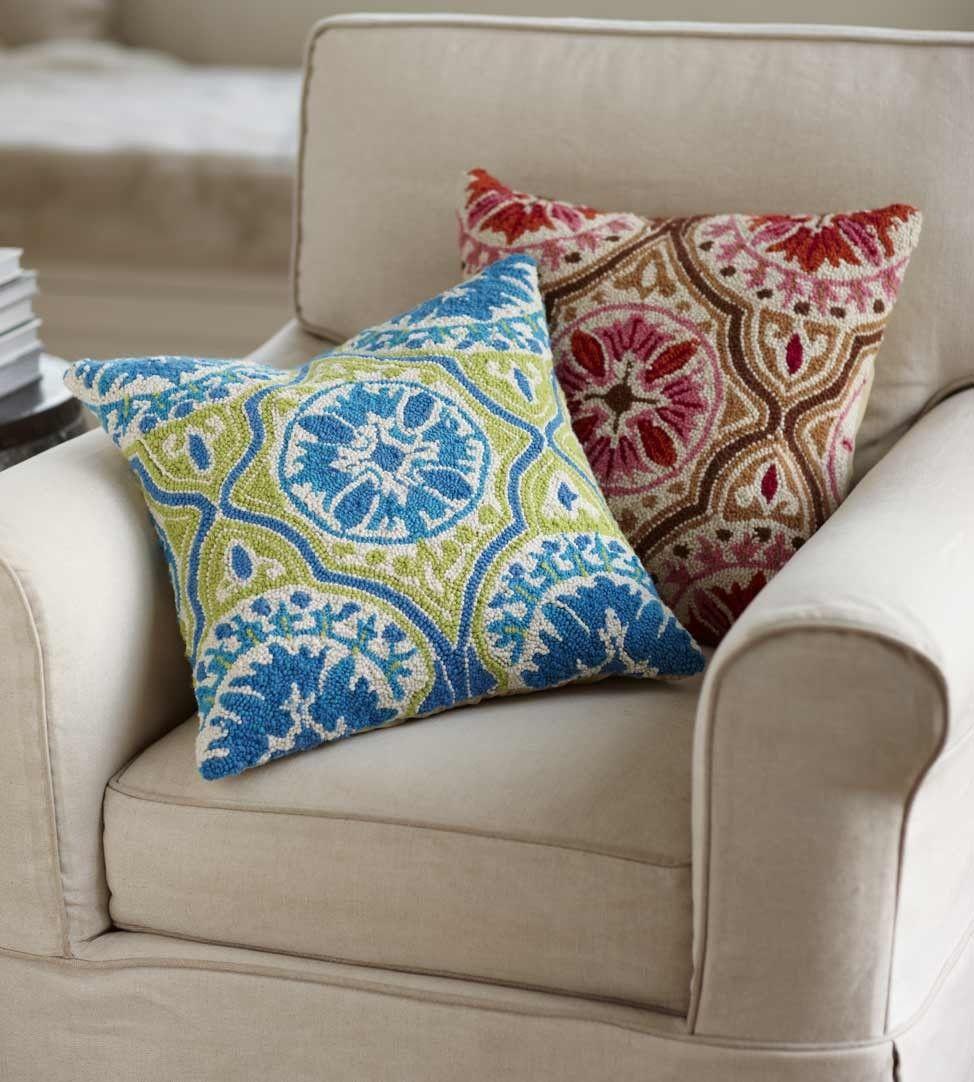 Viva Terra throw pillows - bright blue or pink