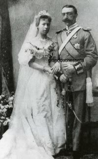 Princess Alexandra of Saxe-Coburg and Gotha (daughter of Prince Alfred, Duke of Saxe-Coburg and Gotha, second son of Queen Victoria, and Grand Duchess Maria Alexandrovna, daughter of Tsar Alexander II) to Prince Ernst of Hohenlohe-Langenburg, April 20, 1896.