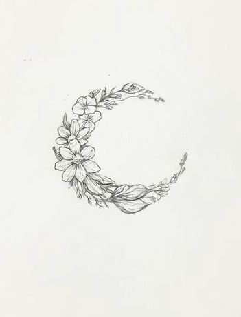 Floral Moon Tattoo Tattoos Pinterest Tattoos Small Tattoos
