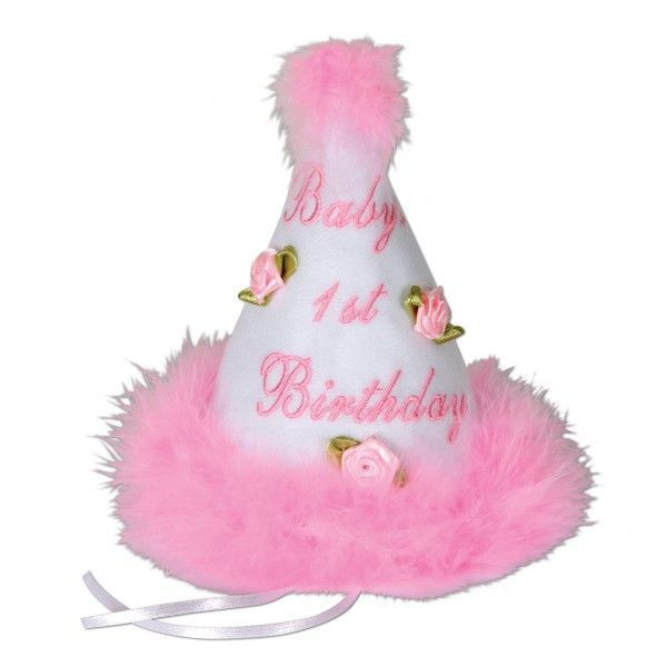 Baby's 1st Birthday Girl Cone Party Hat