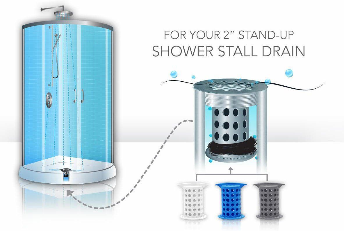 Showershroom Gray The 2 Hair Catcher That Prevents Clogged