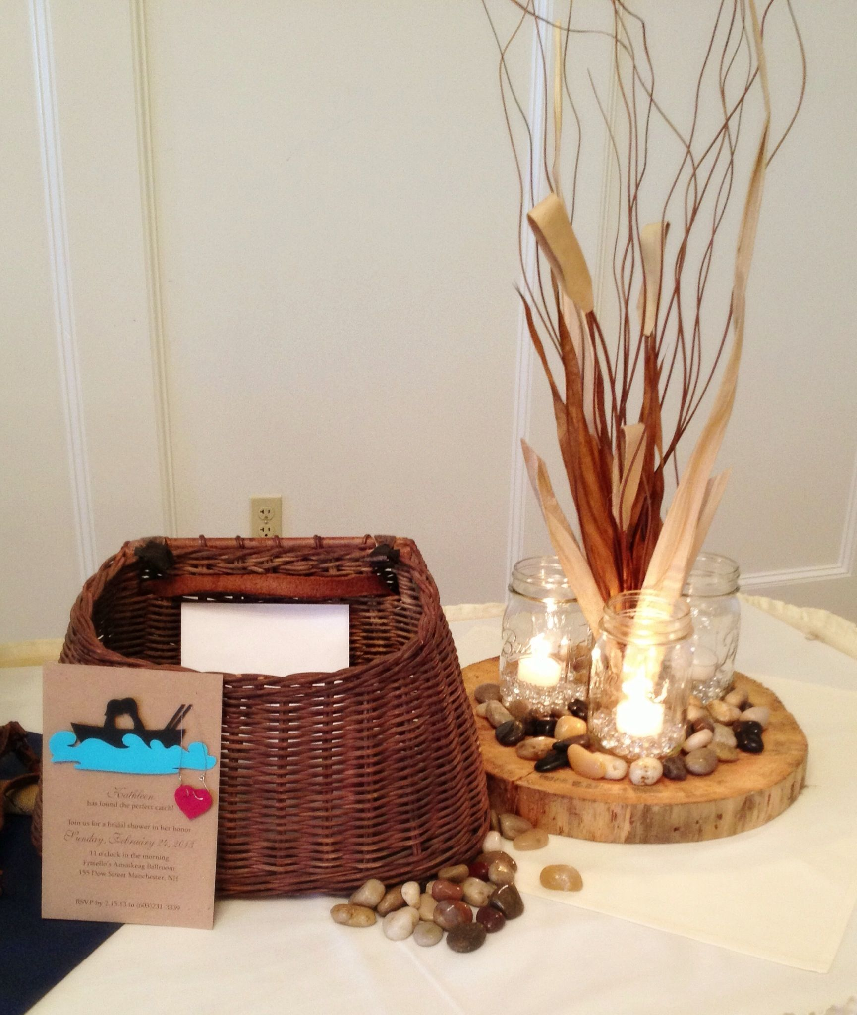 Fishing Wedding Ideas: Fishing Theme/ Lake Theme Card Basket (fishing Creel