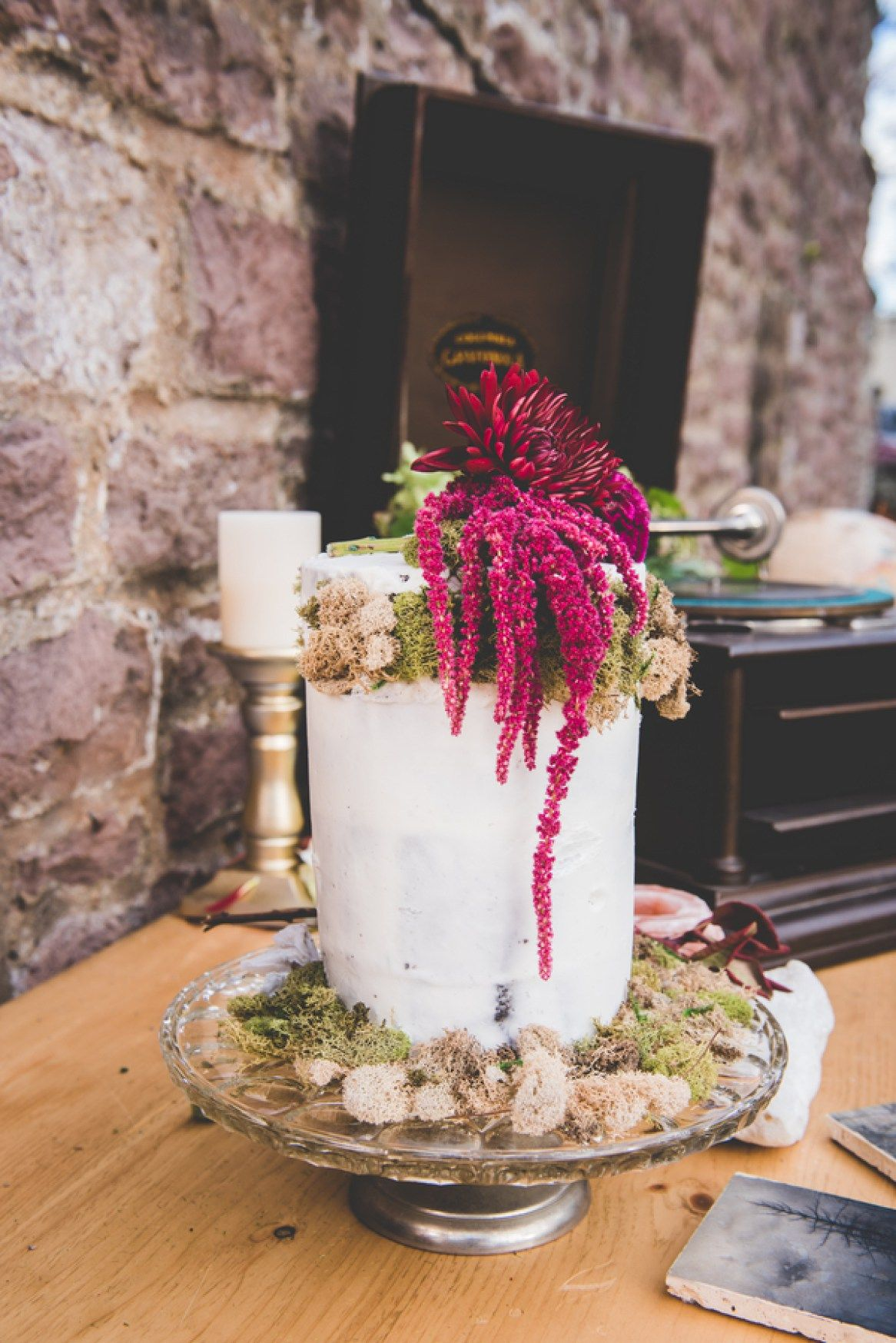 Wedding cake table decor ideas  Fall harvest inspired wedding cake photo by BG Productions via
