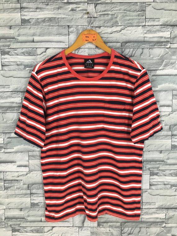fb09678f9 Vintage ADIDAS Stripes Tshirt Medium 90s Adidas Border Stripes Multicolor  Usa Sports Streetwear Old
