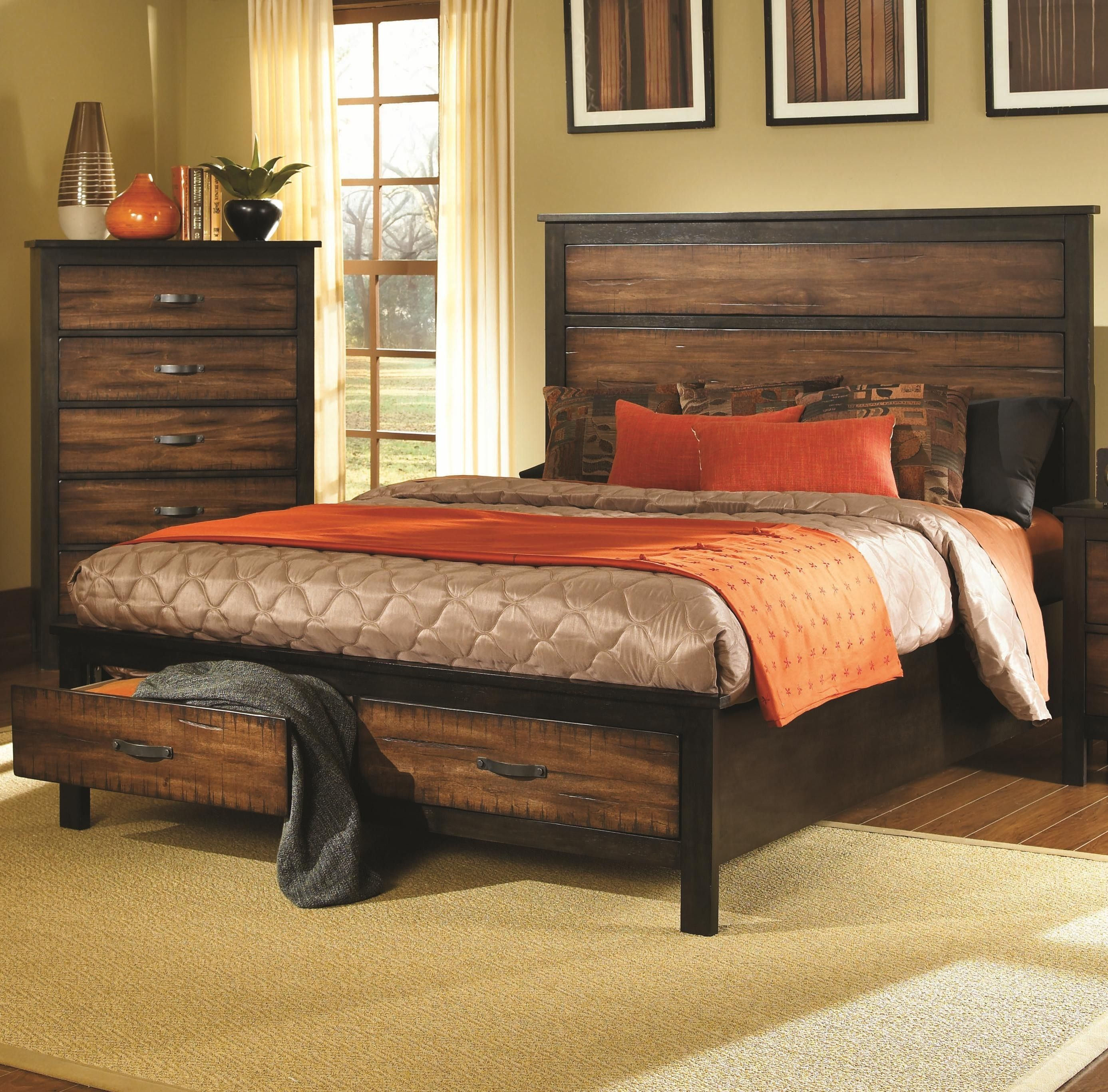 Conway Rustic Brown And Black Storage Drawers Queen Bed