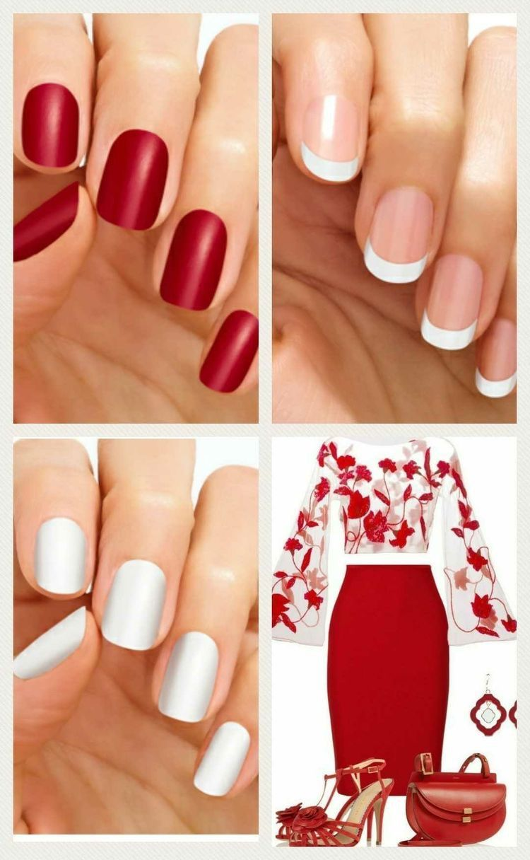 Red | White | French Nails | Color Street 100% REAL Nail Polish ...
