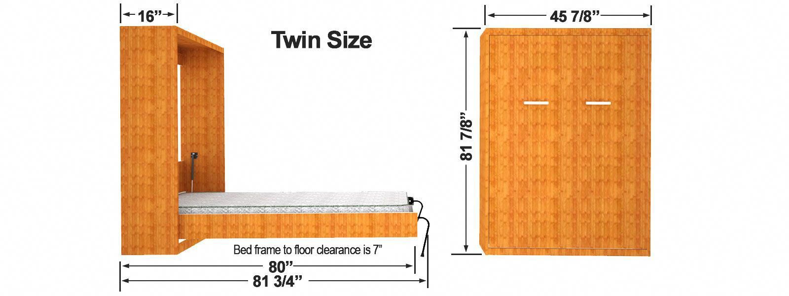 Twin Size Vertical Wall Bed Cabinet Dimensions Murphybedsdiytwin