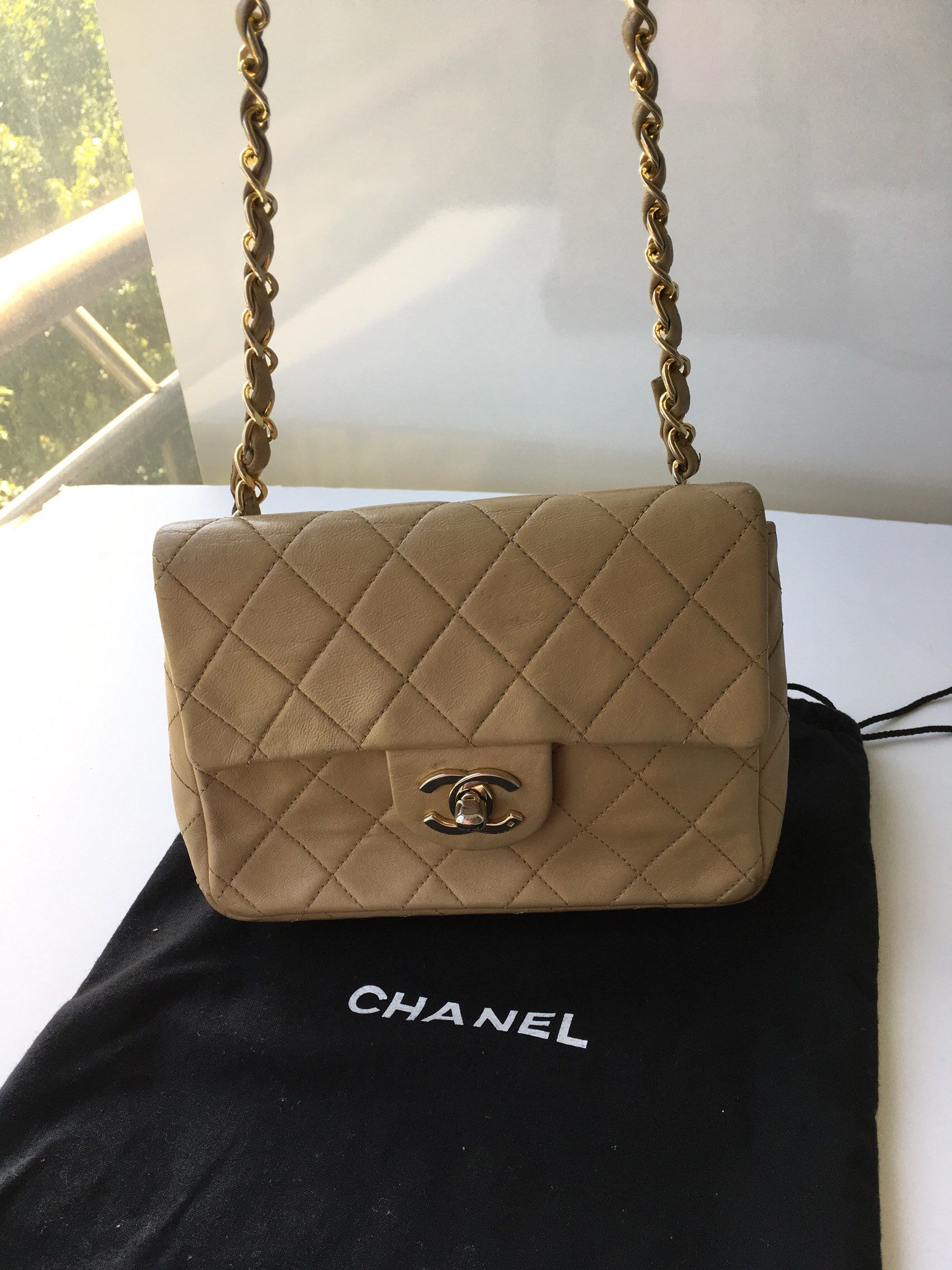 450f52cda08b43 Chanel Vintage Authentic Beige Lambskin Quilted Mini Square Classic Flap Bag  Mini Matelasse Beige Chain Shoulder Bag Flap Crossbody #chanel90sbag ...