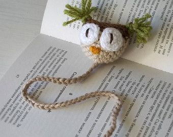 Hand Crocheted Owl Bookmark - Handmade Page Marker - Kids Gift - Autumn Colors Gift - Fun Paper Clip - Crochet Knit Kids Book Mark - School