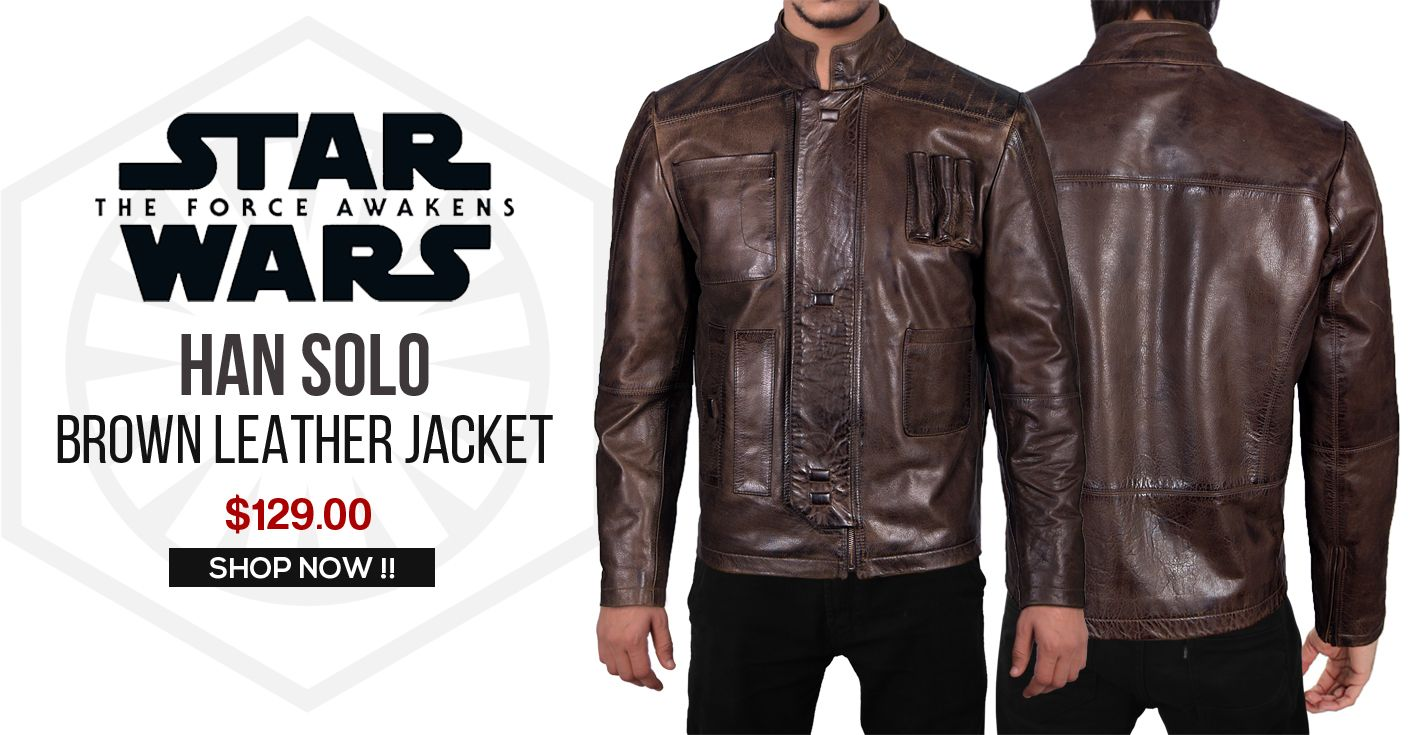 Episode 7 Han Solo Brown Leather Jacket For Sale At Discounted Price 129 00 Buy Online Star Wars Brown Leather Jacket Leather Jackets For Sale Han Solo Jacket [ 735 x 1424 Pixel ]