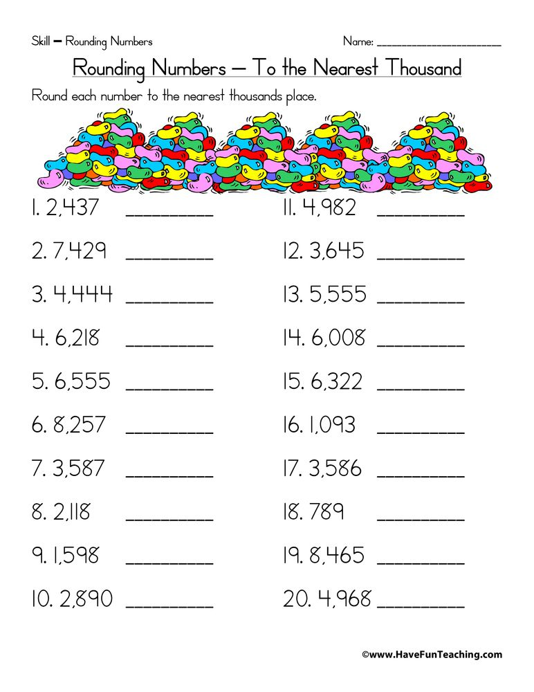rounding worksheets 3rd grade rounding to the nearest thousand worksheet have fun teaching. Black Bedroom Furniture Sets. Home Design Ideas