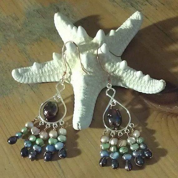 Freshwater Pearl Earrings-Pearl by reginasribbons on Etsy
