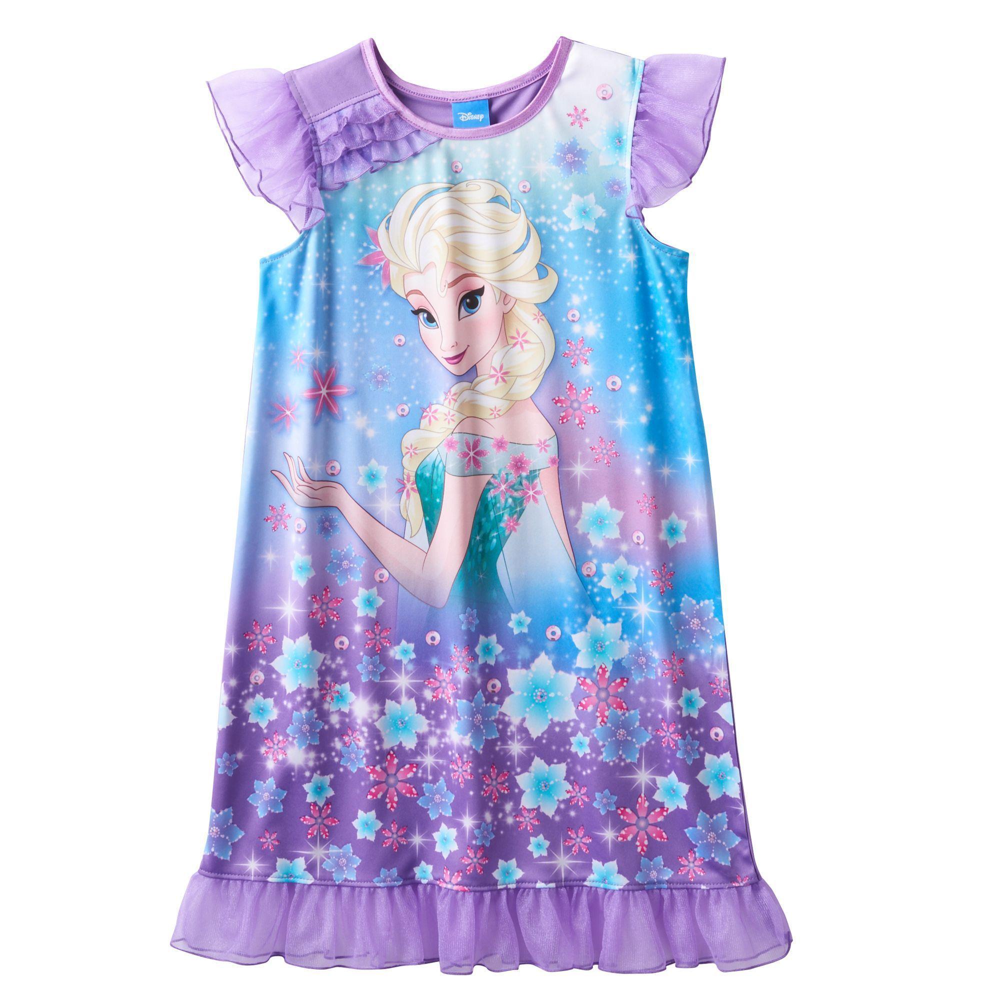 6cca2a92a1ea Disney s Frozen Elsa Girls 4-12 Cosmic Knee-Length Dorm Nightgown ...
