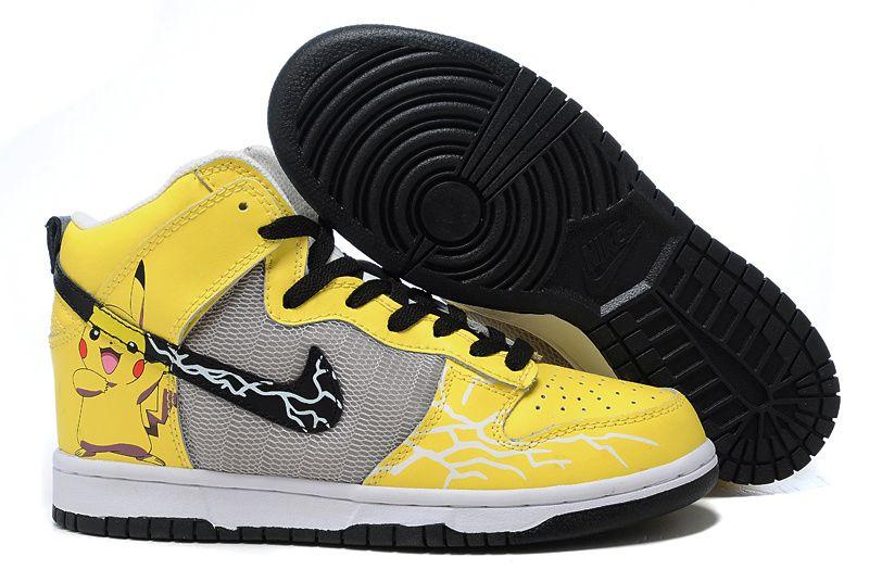 low priced 05afa c7d06 Pokemon Pikachu Nike Dunks Hightops Yellow Grey Custom Shoes