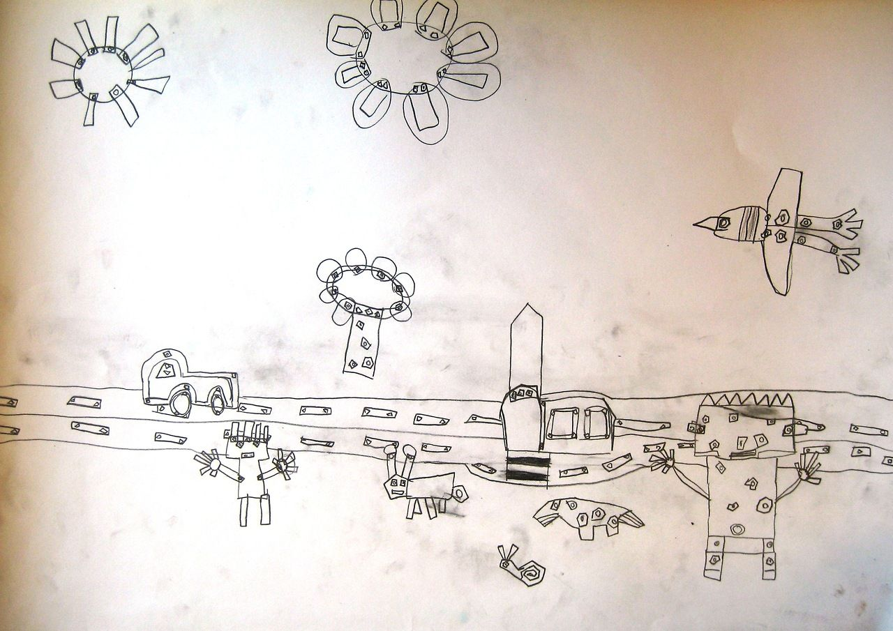 Robot city. Art lesson for 6 year old children.