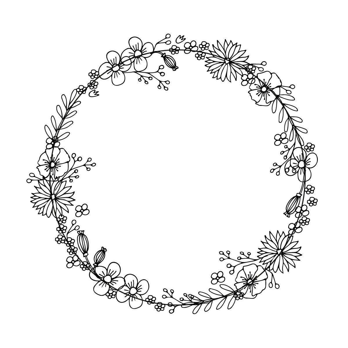 Photo of Round wreath, round frame, illustration, vector, doodle, graphic postcard, decorative with love, ornament, floral border