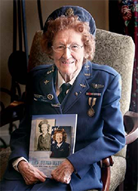 "Mrs. Elizabeth Bridget ""Betty Wall"" Strohfus audaciously served her nation during WWII as a Women Airforce Service Pilot (W.A.S.P.).  She served from 1943 until it disbanded in December 1944.  Piloting eight different aircraft including the B-17, B-26, P-39, and her favorite the AT-6, she flew anti-aircraft training missions against US Army ground and bomber forces, towed aerial targets, and even instructed male cadets in the skill of instrument flight."