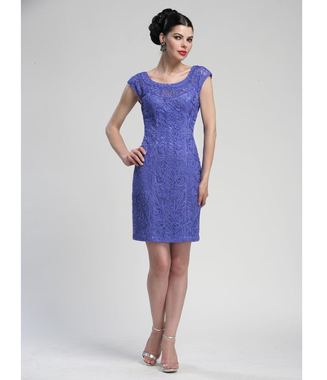 Periwinkle Lace Cap Sleeve Cocktail Dress - Unique Vintage ...