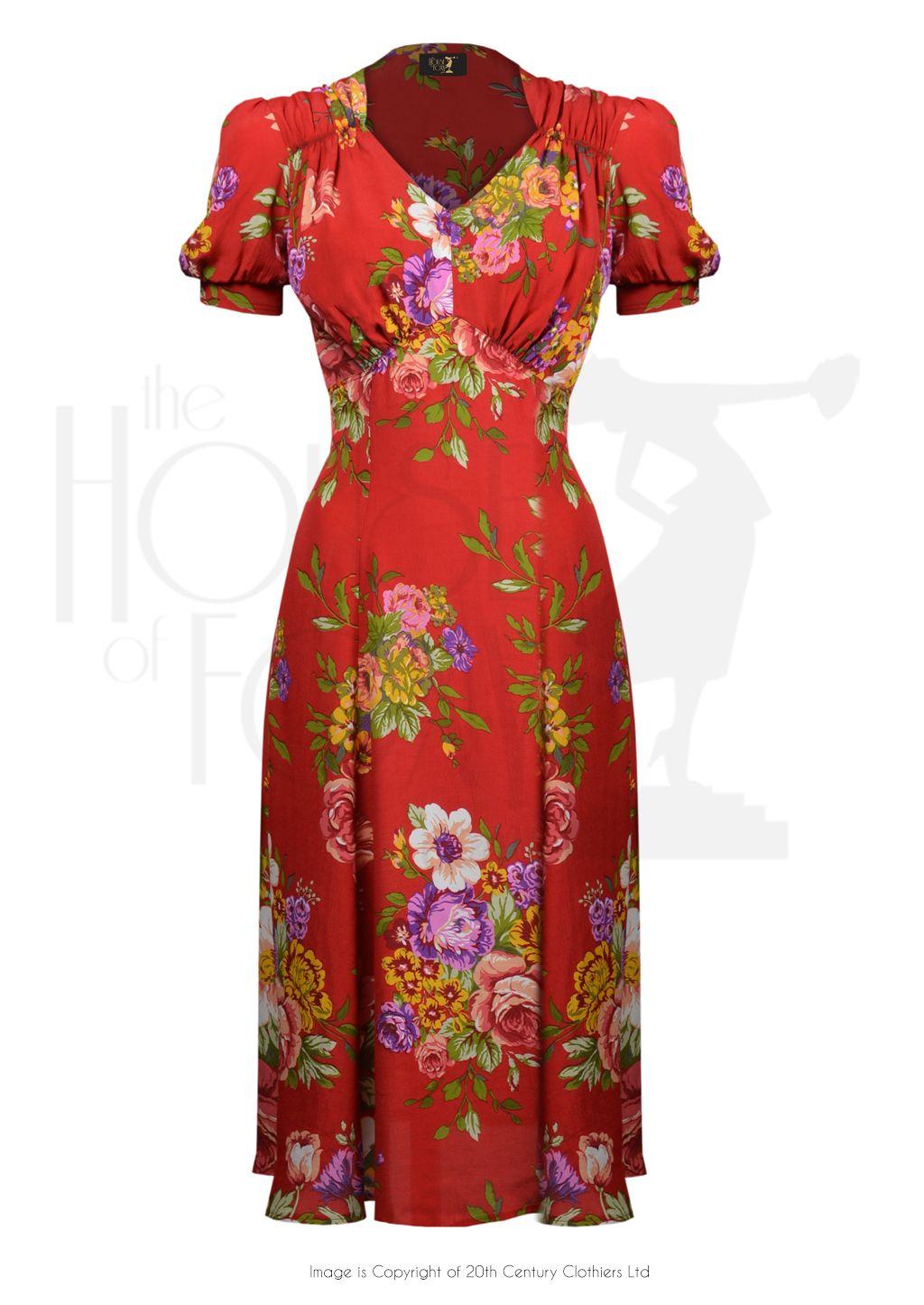 8a40ca81ba1 1940s Tea Dance Dress - Crimson Dreams £119.00 AT Vintagedancer.com