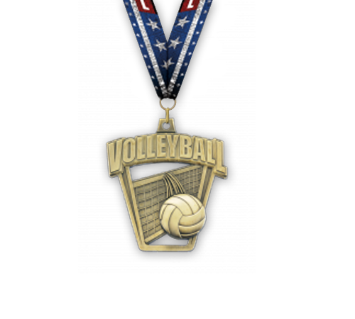Pro Sport Volleyball Medal w/Ribbon | Awards/Prizes/Gifts
