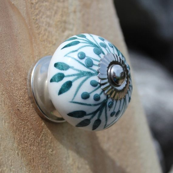White Ceramic Drawer Knobs - Cabinet knobs with Teal Embossed ...