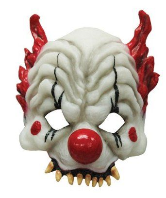 SCARY CLOWN BLOODY SKULL MASK WITH HAIR MANIC ZOMBIE MASK HALLOWEEN SCARY EVIL