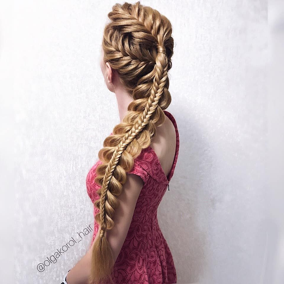 Astonishing stacked braid with fishtail braided top by