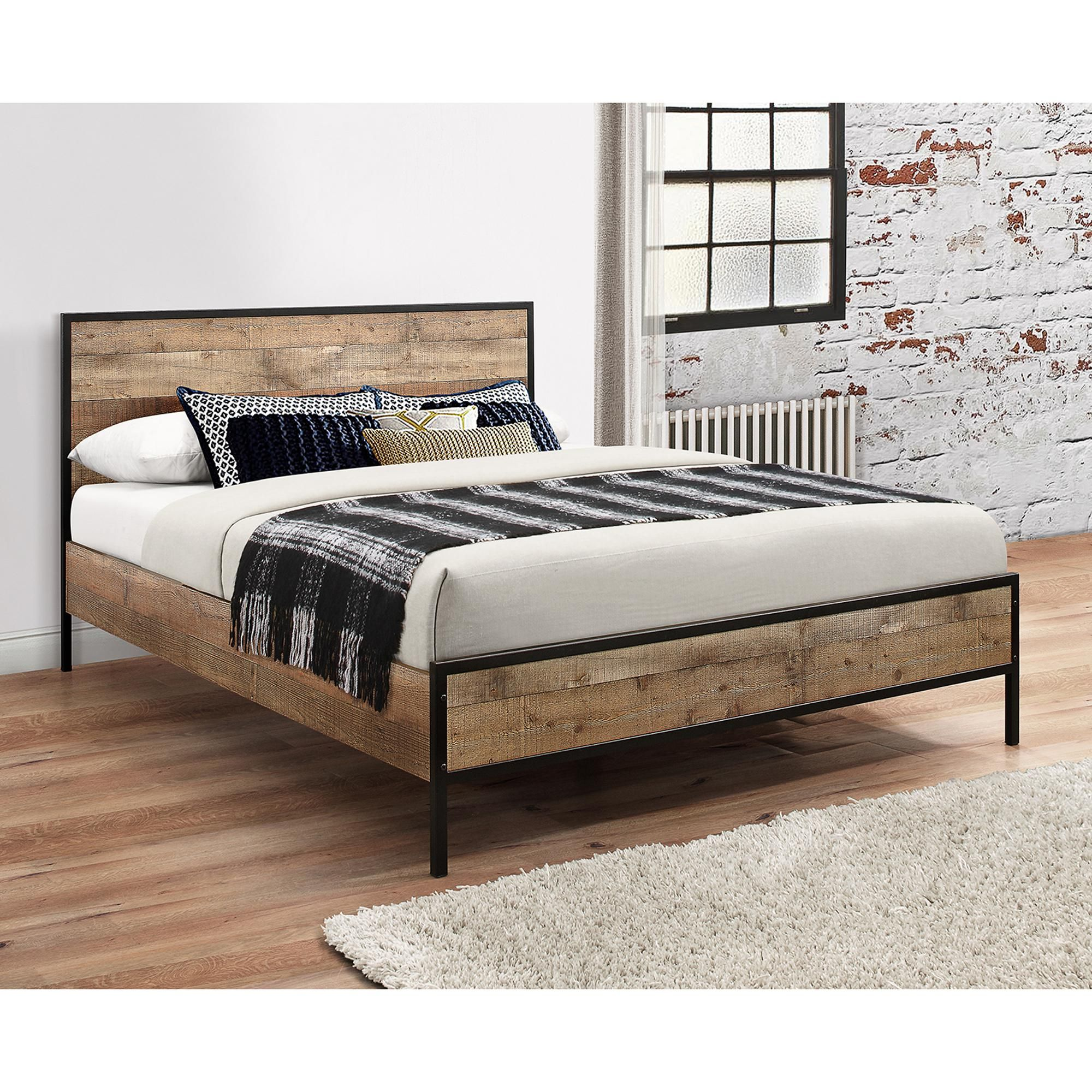 Urban Rustic Bed Frame In 2020 Rustic Wooden Bed Bed Frame